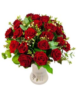 24 premium red rose in a vase